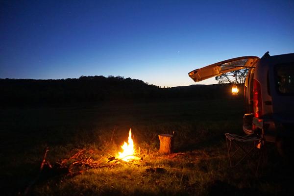 mountain bike camping fire