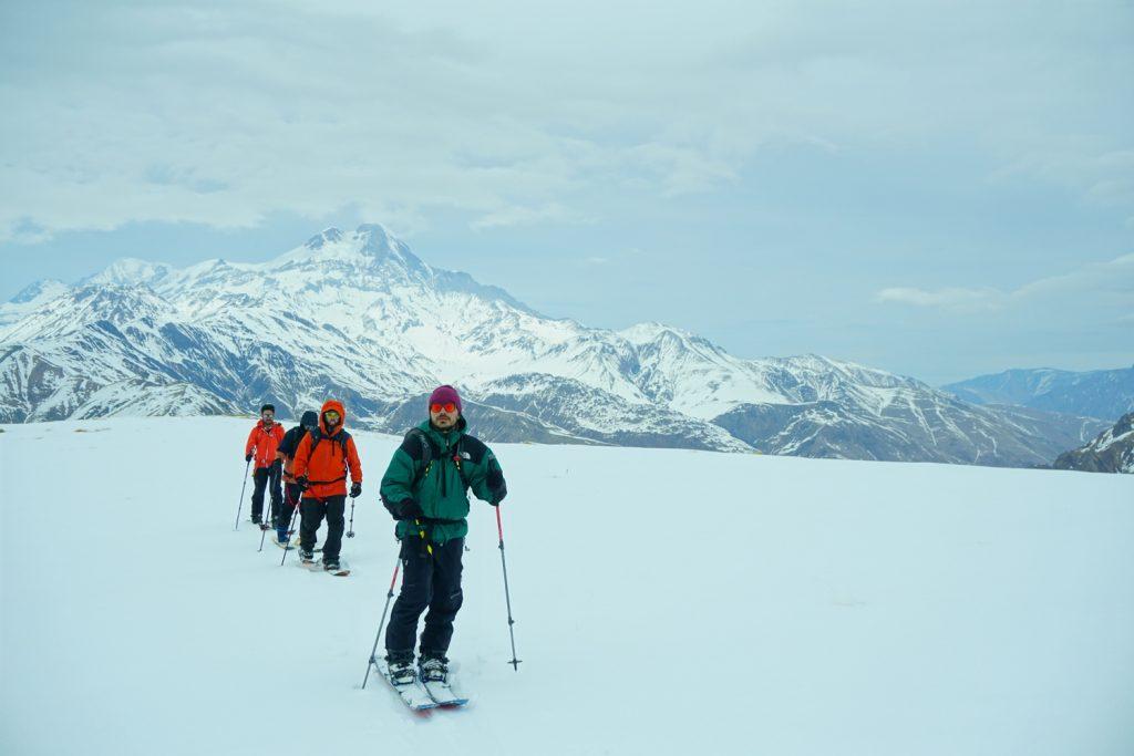 Georgia tour in Kazbegi winter backcountry splitboarding camp riders