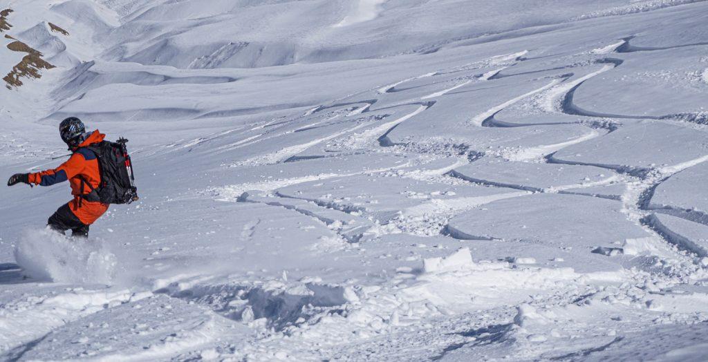 Powder snow Georgia mountains Gudauri Kazbegi freeride splitboarding snowboarding rider picture
