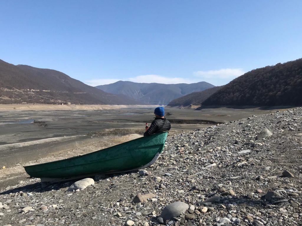 Gudauri Tour reservoir lake dry land boat beet fun no snow Georgia