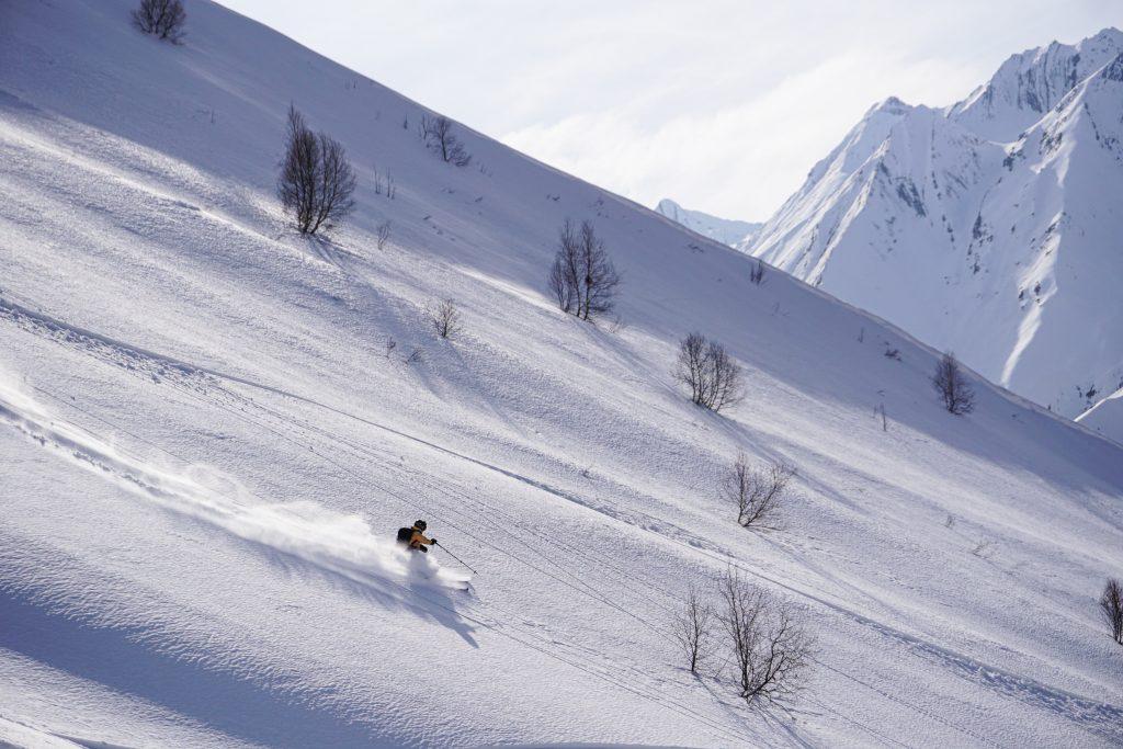 Georgia mountains offpiste freeride splitboarding snowboarding forest powder snow winter Gudauri rider